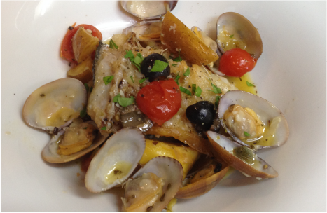 Acqua Pazza of rockfish and Fresh tomato